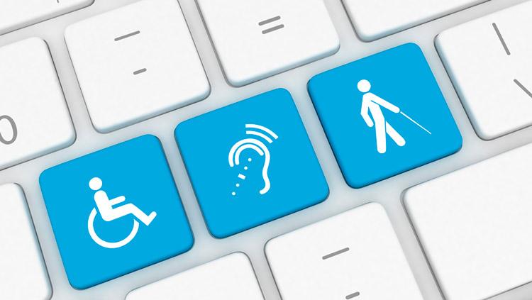 imagem de um teclado de notebook, com as teclas em azul, com símbolo de cadeirante de rodas, simbolo de uma pessoa cega e um símbolo de uma pessoa surda, representando um site acessível