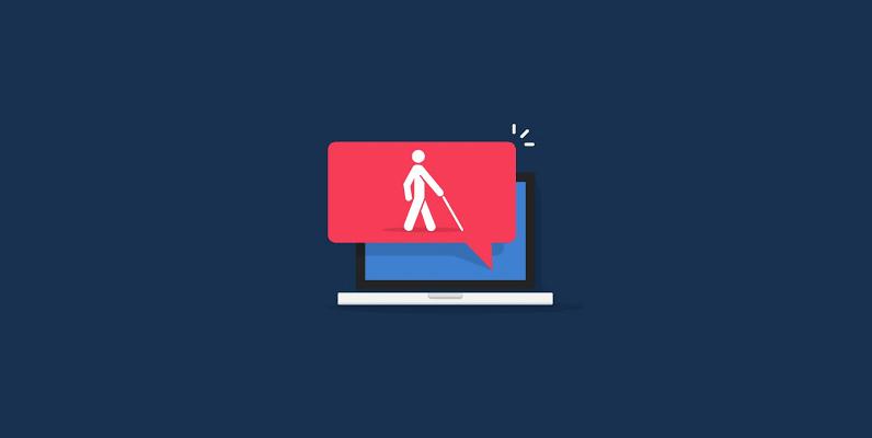 imagem de um notebook, com ícone de placa vermelha e desenho da silhueta de uma pessoa cega, simbolizando acessibilidade digital