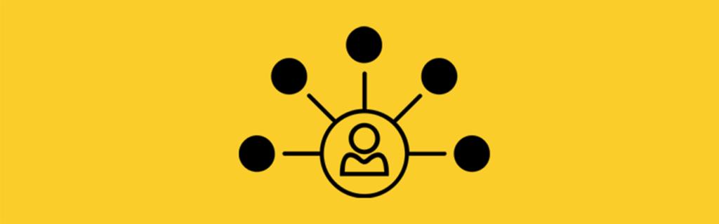 Grupos de afinidade representados na imagem por um ícone de pessoa, dentro de um círculo, ligada por linhas retas em mais 5 círculos.