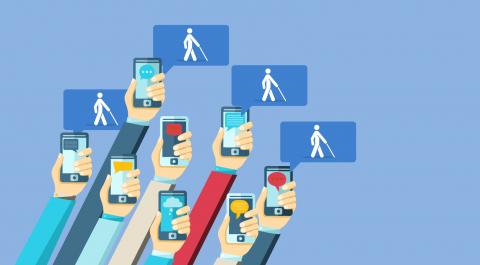 imagem de diversos braços segurando celulares com símbolos da acessibilidade digital